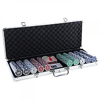 Набор для покера Poker set: карты 2 колоды, фишки с номиналом 500 шт, 5 кубиков