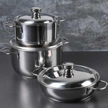 Набор посуды, 3 предмета: две кастрюли 3 л, 1,75 л, сковорода 1 л, капсульное дно