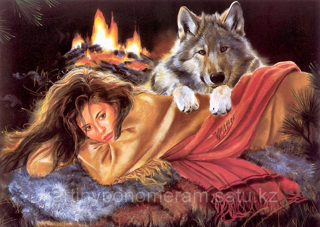 """Картина по номерам """"Девушка и волк 4"""""""