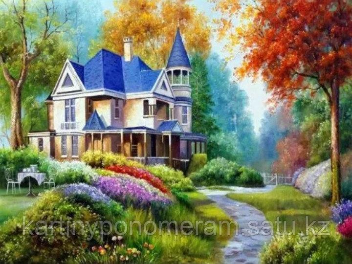 """Картина по номерам """"Дом с синей крышой"""""""