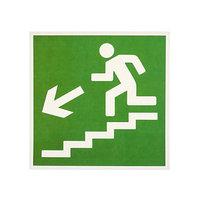 Наклейка 'Направление к эвакуационному выходу по лестнице вниз', 1818 см, цвет зелёный (комплект из 20 шт.)