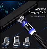 Магнитный кабель для зарядки + 3 насатки вращение 360градусов, фото 5