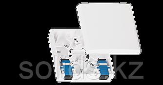 Корпус оптической настенной розетки (кросс), до 2 портов SC или LC, белый, с гильзами, шт