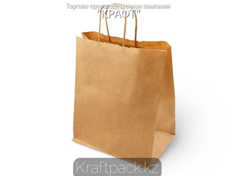 Бумажный пакет из крафт бумаги, бурый с ручкой 70гр 350*150*450 (250 шт/уп)