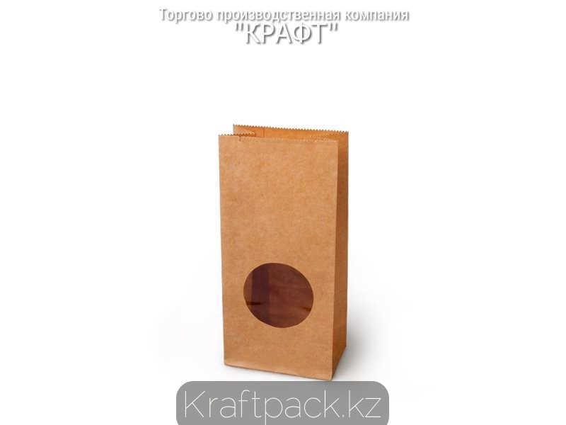 Пакет крафт с прямоугольным дном, круглым окном 80*50*170 мм (600 шт/кор)