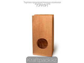 Пакет крафт с прямоугольным дном, круглым окном 100*60*200 мм (500 шт/кор)