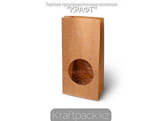 Пакет крафт с прямоугольным дном, круглым окном 120*80*250 мм (500 шт/кор)