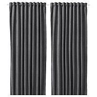 шторы затемняющие САНЕЛА темно-серый  290x300 см ИКЕА IKEA