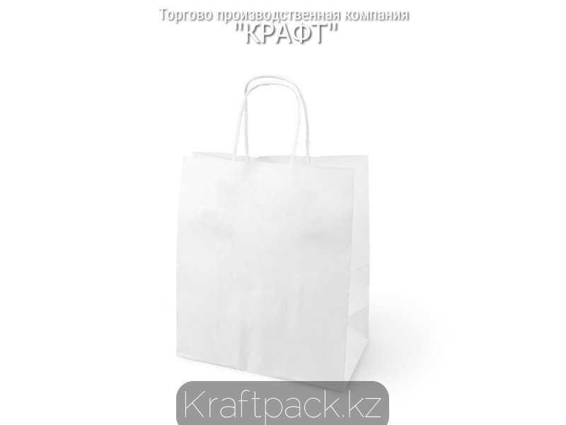 Бумажный крафт пакет ,белый с крученной ручкой 80гр 260*150*350 (150шт/уп)
