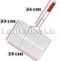 Решетка для гриля и барбекю с деревянной ручкой 29х39 см, фото 1