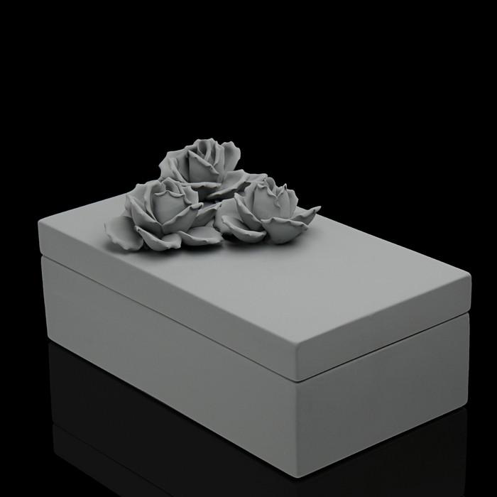"""Шкатулка """"Цветы"""", серая"""
