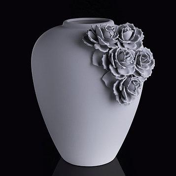 "Ваза интерьерная ""Цветы"", серая"