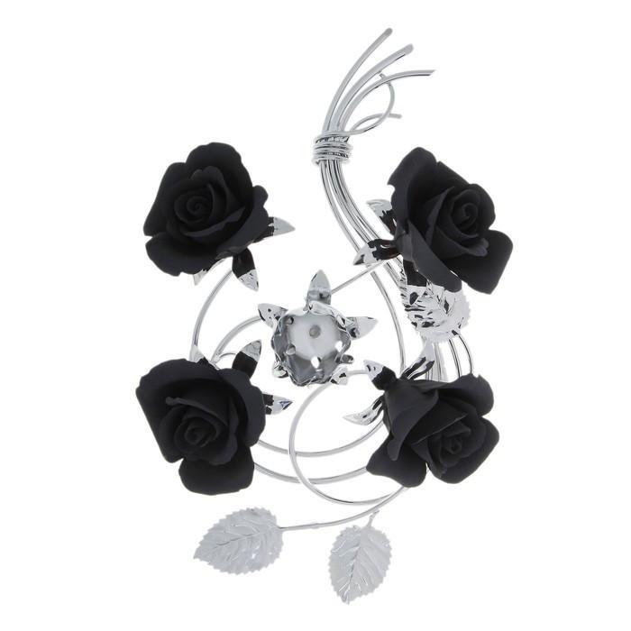 Подсвечник Black Flowers на одну свечу