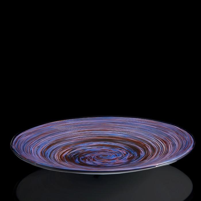 """Блюдо интерьерное """"Milan Glass"""", синяя"""