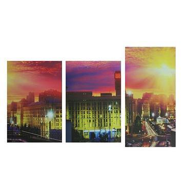 "Модульная картина на подрамнике ""Город на закате"", 2 шт. — 33×50, 1 шт. — 33×60 см, 100×60 см"