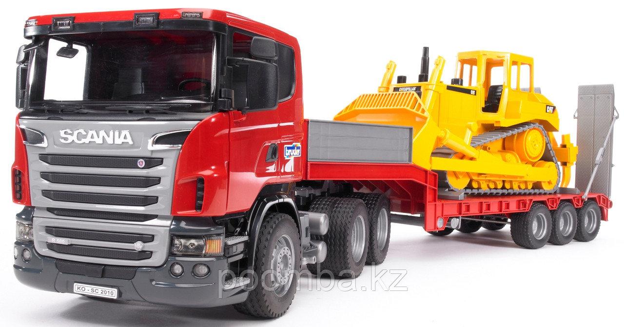 Тягач Scania с прицепом–платформой и гусеничным бульдозером CAT Bruder
