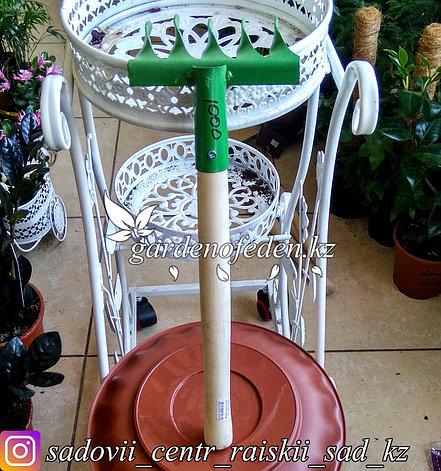 Грабли прямые, 5 витых зубцов, длина 46 см, деревянная ручка., фото 2