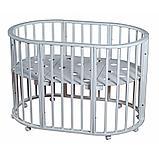 Круглая-Овальная Кроватка 3 в 1 Николь Мой малыш белый, фото 2