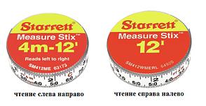 Лента измерительная клеящаяся Starrett Measure Stix, 4м*13мм, цифры - слева направо, метрич./дюйм.