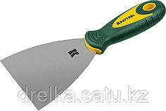 Шпательная лопатка KRAFTOOL с 2-компонент ручк, профилиров нержав полотно, 100мм