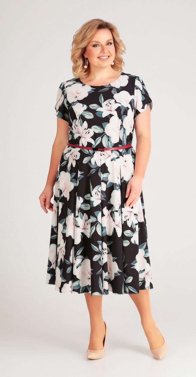 Платье Swallow-169/1, черный с розовым, 52