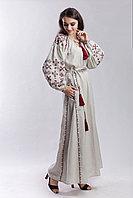 Длинное бежевое платье с вышивкой