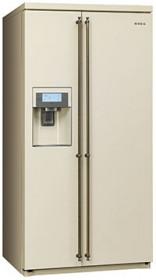 Отдельностоящий холодильник Side-by-Side Smeg кремовый  SBS8003PO