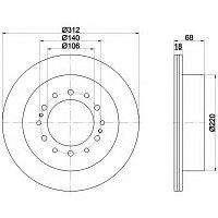 Тормозные диски Toyota Land Cruiser Prado 150 (задние, BluePrint, D312)