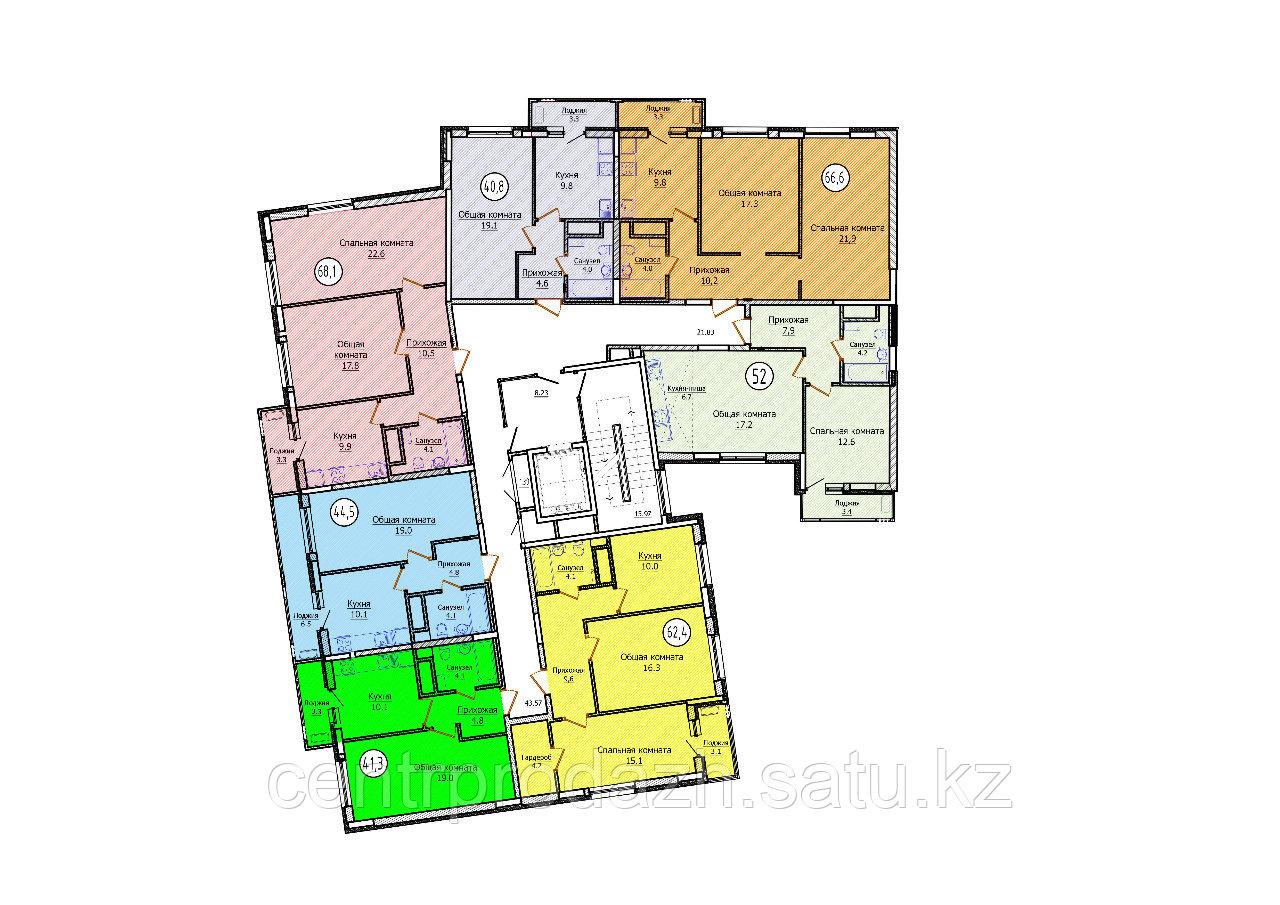 2 комнатная квартира в ЖК Техникум 2 62.4 м²