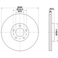 Тормозные диски Mazda 6  (передние, Ashika, D320)