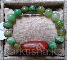 Дзи Дом Будды с одним глазом в браслете из зеленого агата