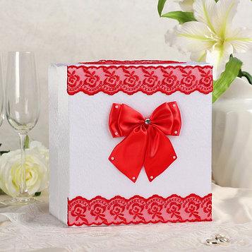 Коробка для денег «Семейный банк» с красным кружевом