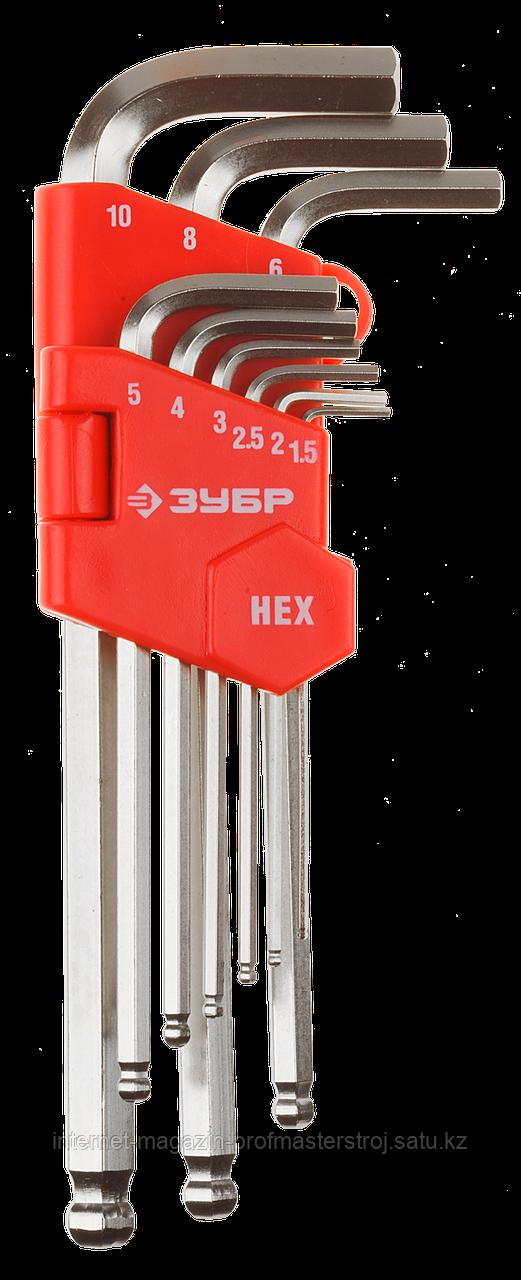 Набор ключей имбусовых HEX 1.5 - 10 мм, длинные с шариком, 9 предметов, ЗУБР