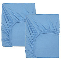Простыня натяжн ЛЕН  для кроватки 60х120 голубой 2 шт. ИКЕА, IKEA, фото 1