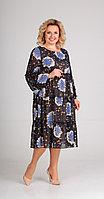 Платье Диамант-1434/3, синие_цветы, 52