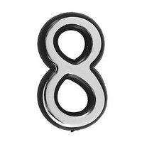 Цифра дверная '8', малая, пластик, самоклеящаяся, цвет хром