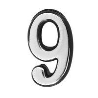 Цифра дверная '9', малая, пластик, самоклеящаяся, цвет хром (комплект из 20 шт.)
