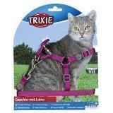 Trixie 41891 Шлейка с поводком для кошек. Нейлон.  23-37см/10мм, поводок 1,2м