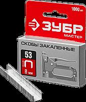 Скобы тип 53, 8 мм, 1000 шт, серия «МАСТЕР», ЗУБР