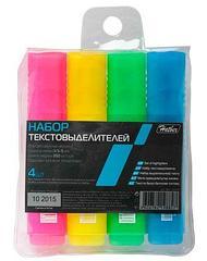 """Набор текстовыделителей """"Hatber"""", 4 цвета, флуоресцентные чернила, клиновидный пишущий узел,"""