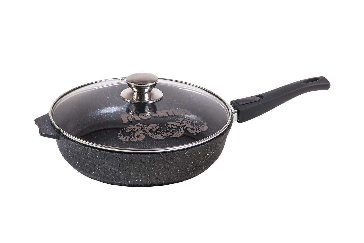 Cковорода Мечта Granit Black 28 см со съемной  ручкой и стеклянной крышкой