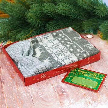 """Подарочный набор: теплый шарф и повязка с конвертом """"С Новым годом!"""""""