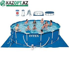 Бассейн каркасный круглый 457х107 см (в комплекте: насос с фильтром 220 V фильтр,,лестница,тент,подложка)