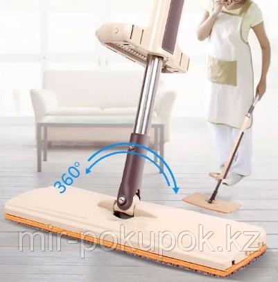 Швабра лентяйка для пола с отжимом Spin Mop поворот на 360 гр. спин моп с двумя накладками тряпками