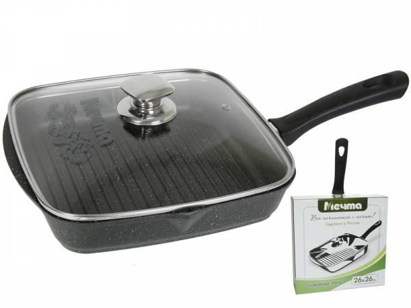Cковорода-гриль Мечта  Granit Black 28 см. со съемной  ручкой и стеклянной крышкой