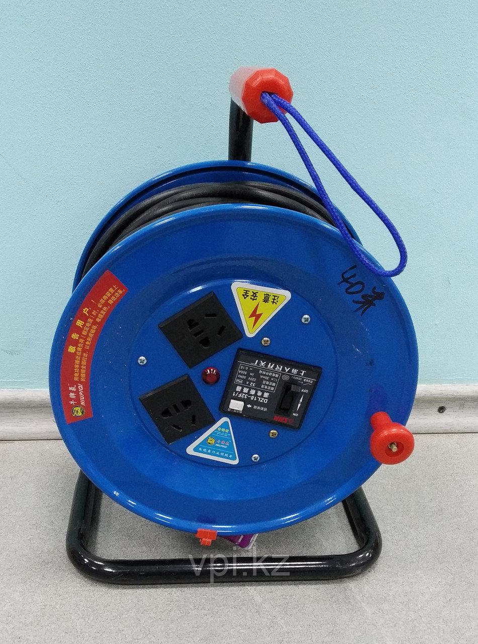 Удлинитель на кабельной катушке,синий металлический корпус  40м 2*1.5