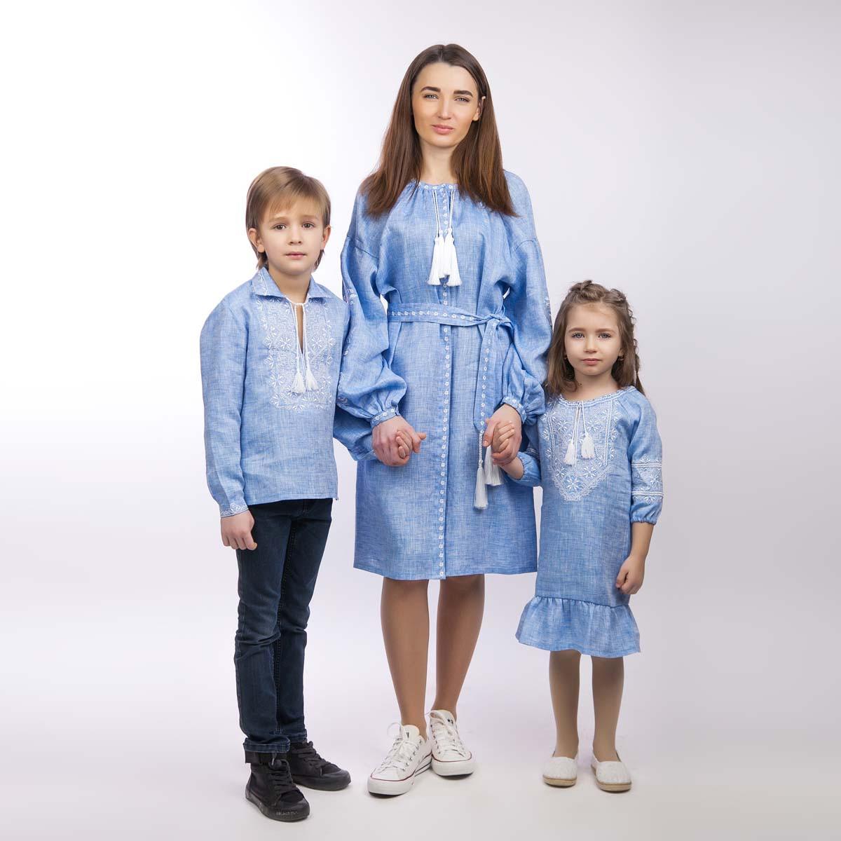 Детская вышиванка для мальчика, лен джинс, длинный рукав - фото 2