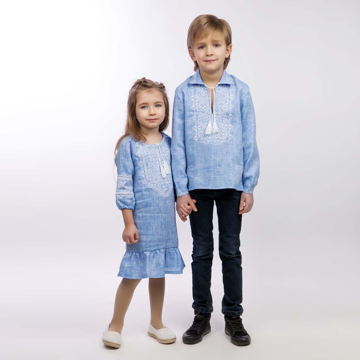 Детская вышиванка для мальчика, лен джинс, длинный рукав - фото 3
