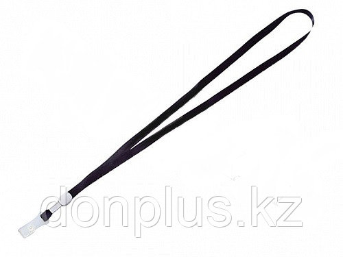 Шнурок для бейджа Deli, зажим на кнопке, длина 48.5 см, черный