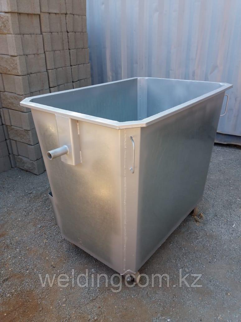 Мусорный контейнер оцинкованный 1,1 куб. на колесах